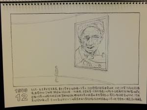 1980年12月與父親一起去看展覽